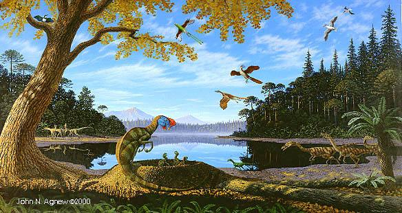 Ginkgo and dinos (mural by John Agnew)