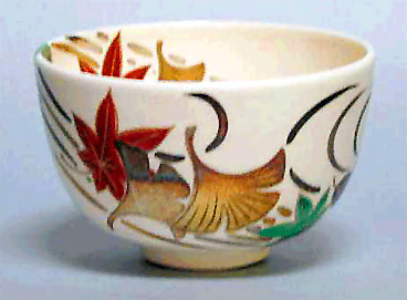 tea bowl with Ginkgo leaf